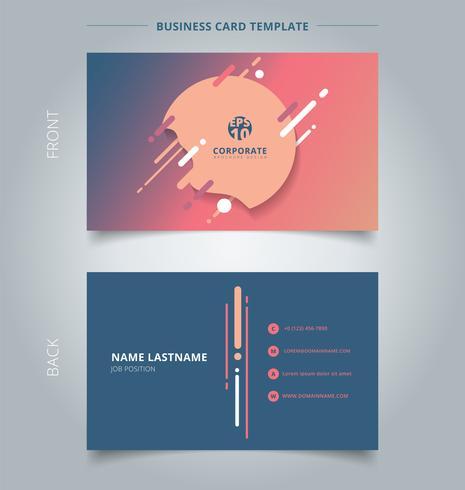 Creatieve visitekaartje en naamkaart sjabloon geometrische plons, lijnen en ronde in een platte minimalistische stijl veelkleurige achtergrond. vector