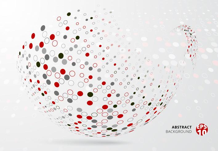 Abstracte 3d halftone punten geklets rode, zwarte en grijze kleur op krommecirkel op witte achtergrond. vector