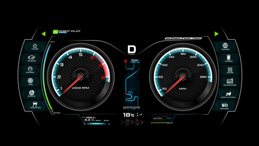 Auto dash board vector illustratie eps 10 007