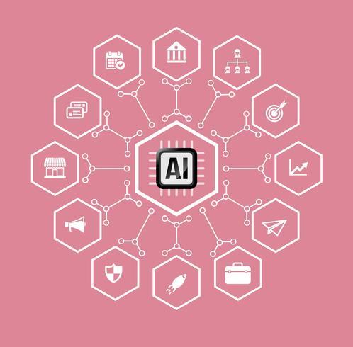 AI Kunstmatige intelligentie Technologie voor zakelijk en financieel pictogram en ontwerpelement vector