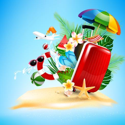 Vliegtuig open koffer met koffer met Starfish flower palm 001 vector