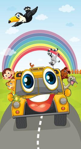 dieren in schoolbus vector