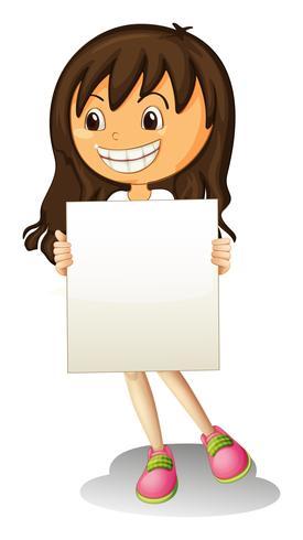 Een gelukkig meisje dat lege signage houdt vector