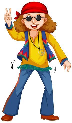 Gelukkig man in hippie kleding vector