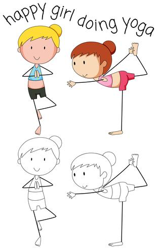 Doodle gelukkig meisje doet yoga vector