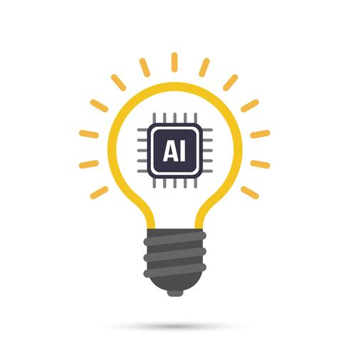 AI Kunstmatige intelligentie Technologie gloeilamp pictogram vector