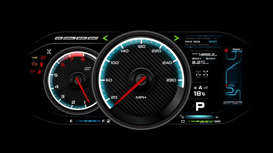 Auto dash board vector illustratie eps 10 009