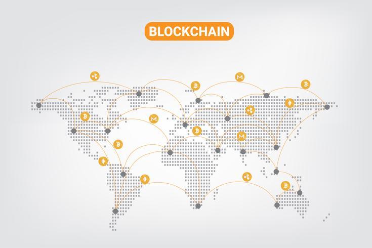 Abstracte digitale geld crypto valuta blockchain netwerktechnologie op wereld punt kaart achtergrond. vector illustratie.