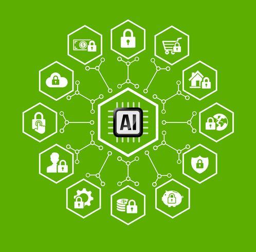 AI Kunstmatige intelligentie Technologie voor bescherming en beveiliging pictogram en ontwerpelement vector