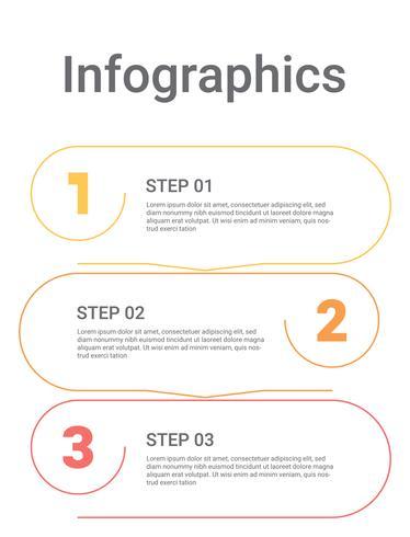 Infographicsdiagram met 3 stappen, opties of processen. Vector bedrijfsmalplaatje voor presentatie. bedrijfsgegevensvisualisatie.