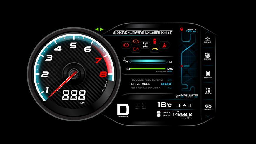 Auto dash board vector illustratie eps 10 006