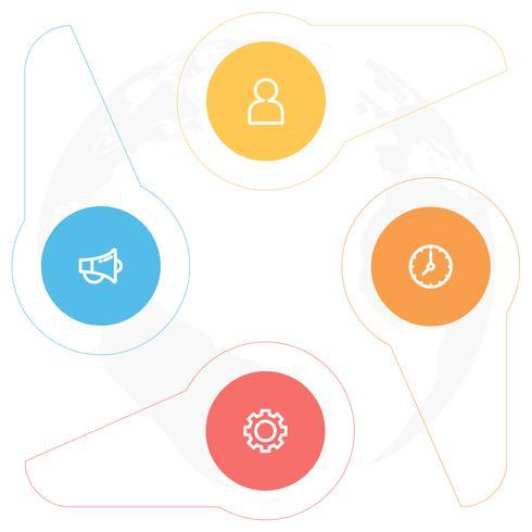 Infographicsdiagram met 4 stappen, opties of processen. Vector bedrijfsmalplaatje voor presentatie. bedrijfsgegevensvisualisatie.