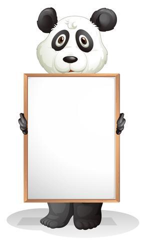 Een panda met een leeg bord vector