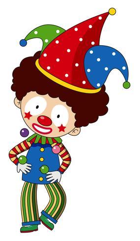 Gelukkige clown met kleurrijke hoed vector