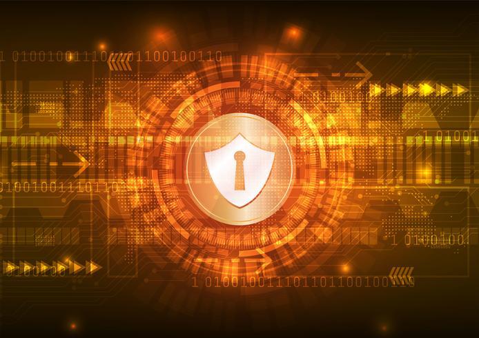 Veiligheidsconcept, Gesloten Hangslot op digitaal, cyberveiligheid, blauwe abstracte hallo de technologie van snelheidsinternet vectorillustratie als achtergrond. vector