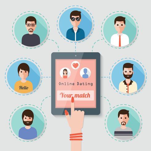 Online daten via sociaal netwerk. vector