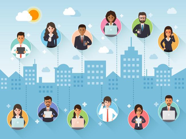 Verbindende zakenman en onderneemster via sociaal netwerk. vector