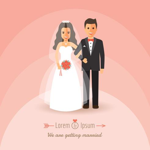Bruid en bruidegom op huwelijksdag. vector
