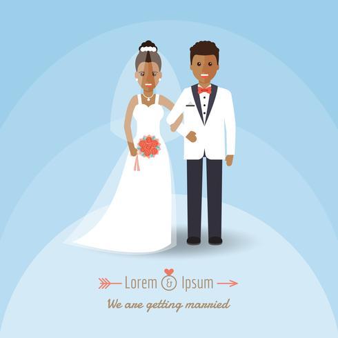 Afrikaans bruidegom en bruidpaar op huwelijksdag. vector