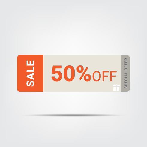 50% pictogram van de verkoopmarkering, Vectoreps 10 illustratiestijl. Prijskaartje, sticker vector