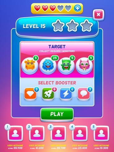 Spel UI. Niveau scherm. vector