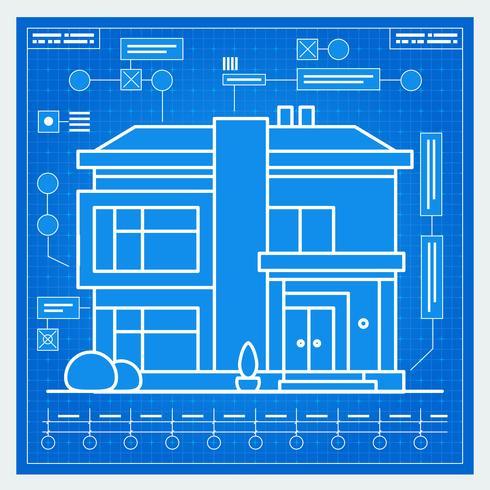 Huis blauwdruk vector