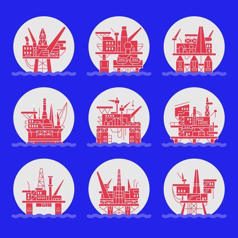 Olieplatform pictogrammen instellen. vector