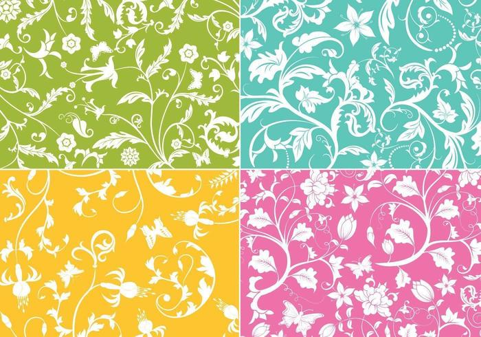 floral swirl vector behang pack