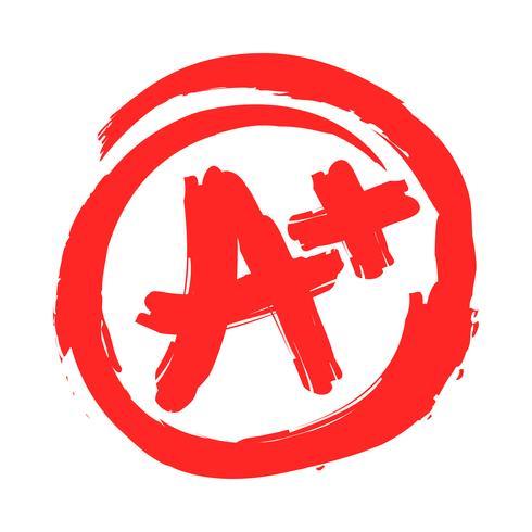 A + cijfer tekstafbeelding vector