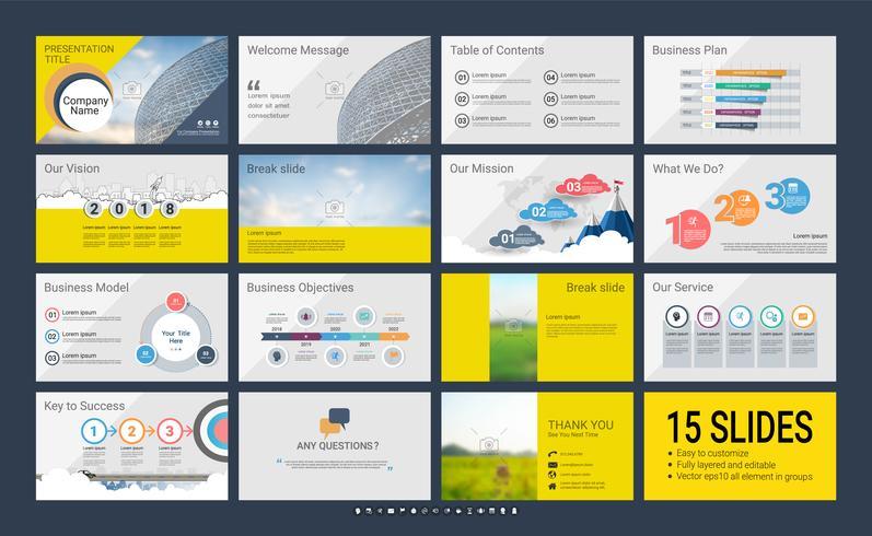 Presentatiemedia-sjabloon voor uw bedrijf met infographic-elementen. vector