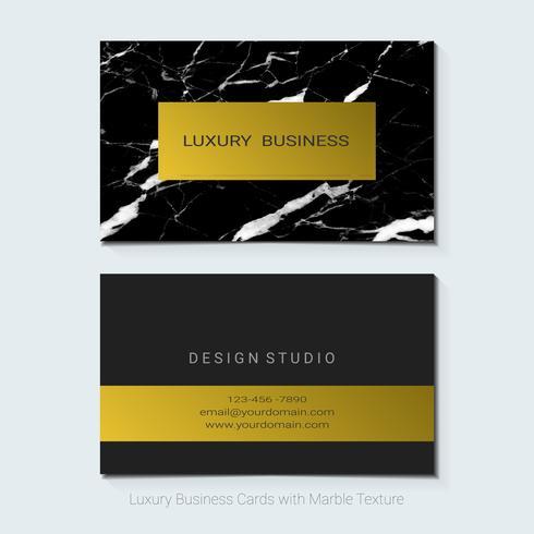 Luxe visitekaartjes vector sjabloon, banner en dekking met marmeren textuur en gouden folie details.