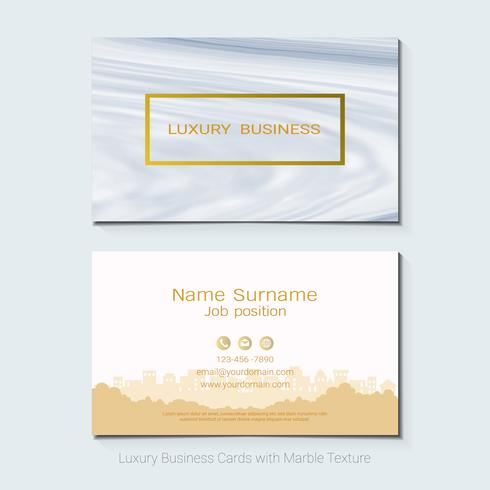 Luxe visitekaartjes vector sjabloon, banner en dekking met marmeren textuur en gouden folie details op witte achtergrond.