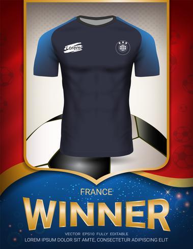 Voetbalkop 2018, de winnaarconcept van Frankrijk. vector