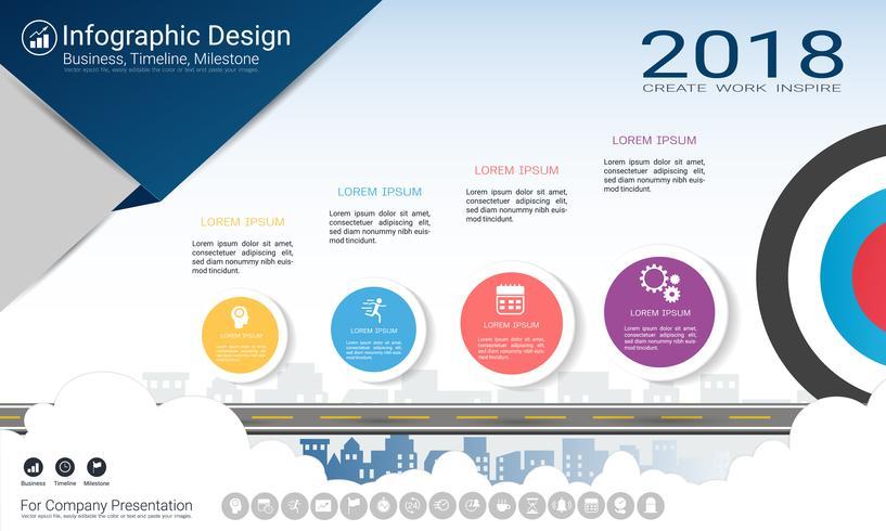Zakelijk infographicsrapport, Milestone-tijdlijn of routekaart met processtroomschema 4 opties. vector