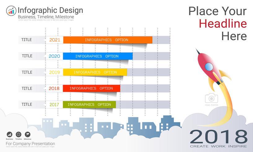 Zakelijke staafdiagram Infographics sjabloon, groei voortgang kleur vol met proces stroomdiagram 5 opties. vector