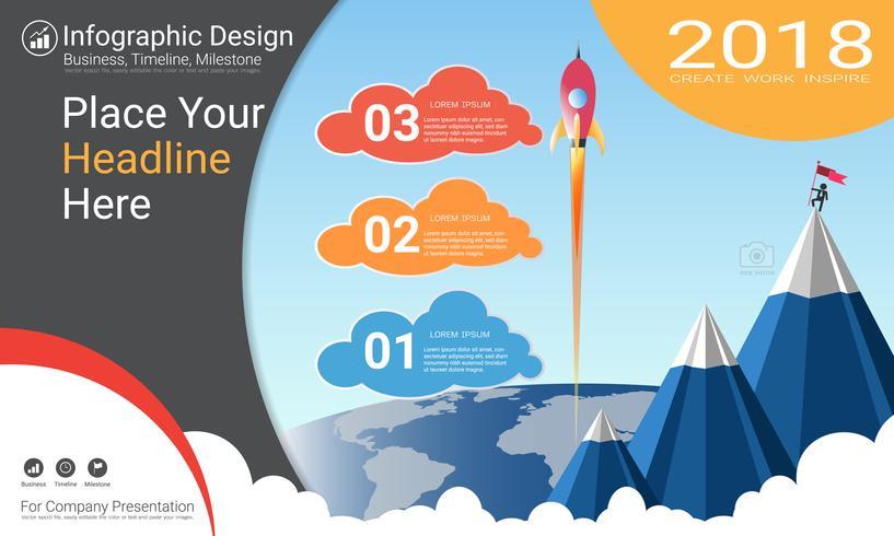 Zakelijk infographicsrapport, Milestone-tijdlijn of routekaart met Processtroomdiagram 3 opties. vector