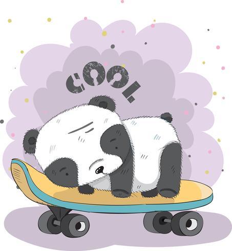 Schattige kleine Panda op een skateboard vector