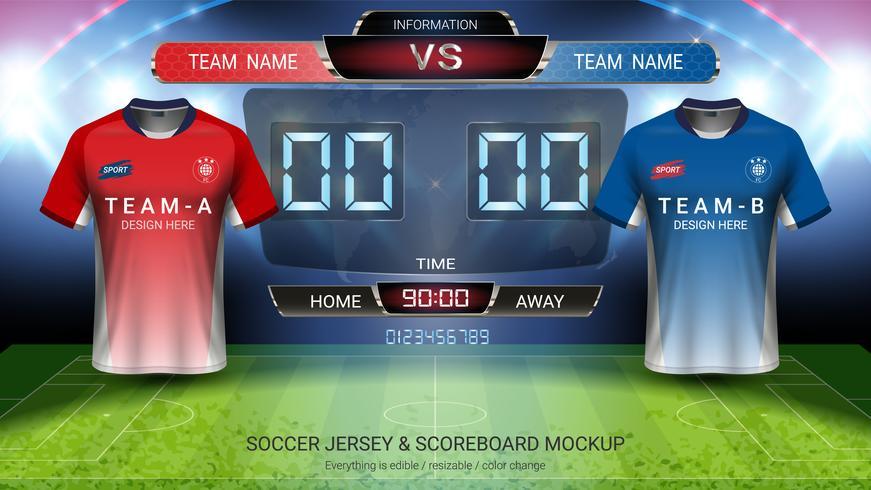 Het mock-up van het voetbal jersey team A versus team B, Digitale timing scorebordgelijke versus strategie uitzendt grafische sjabloon. vector