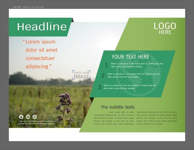 Presentatie lay-outontwerp voor groen voorbladsjabloon. vector