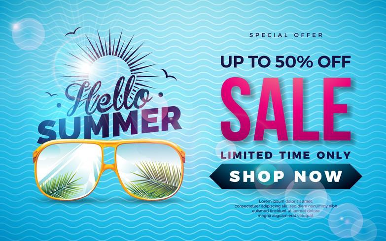 Zomer verkoop ontwerp met typografie brief en exotische palm bladeren in zonnebril op blauwe achtergrond. Tropische Vector Speciale Aanbieding Illustratie