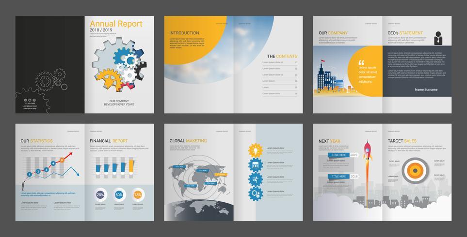 Jaarverslag voor brochure bedrijfsprofiel en reclamebureau. vector