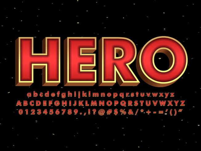 Rood lettertype met metallic goudeffect vector