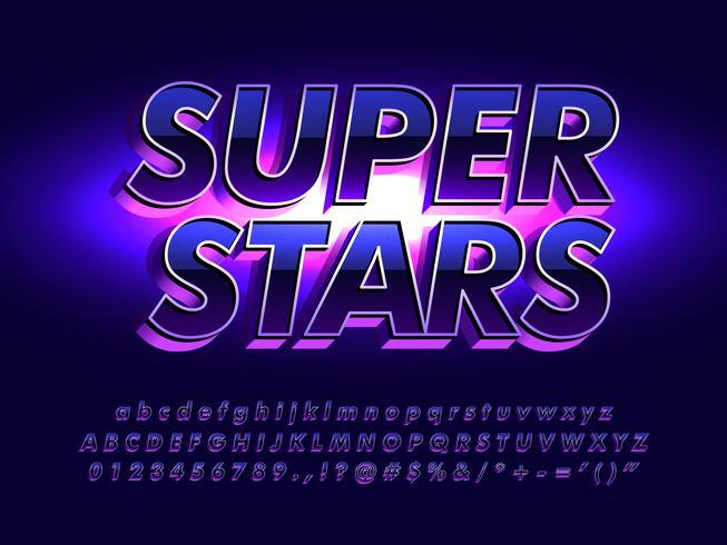 Elegant lettertype met metallic en glanzend effect vector