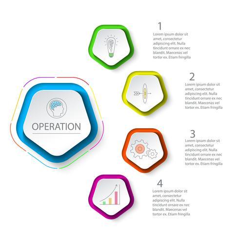 Pentagons label infographic met 5 stappen. vector