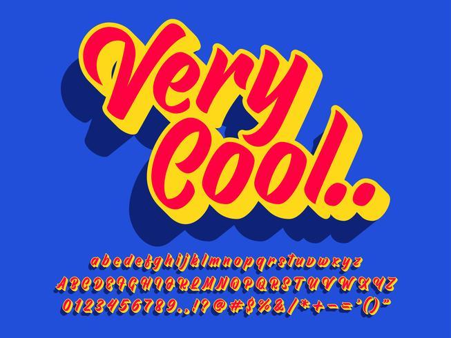 Retro vet teksteffect met levendige kleuren vector