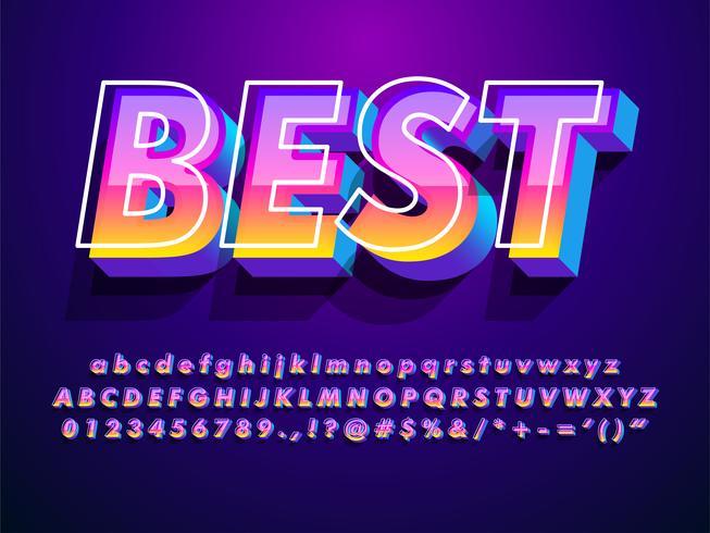 Modern en futuristisch lettertype met cool effect vector