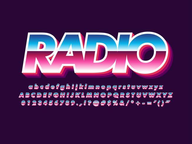 80s lettertype met metallic en glanzend effect vector