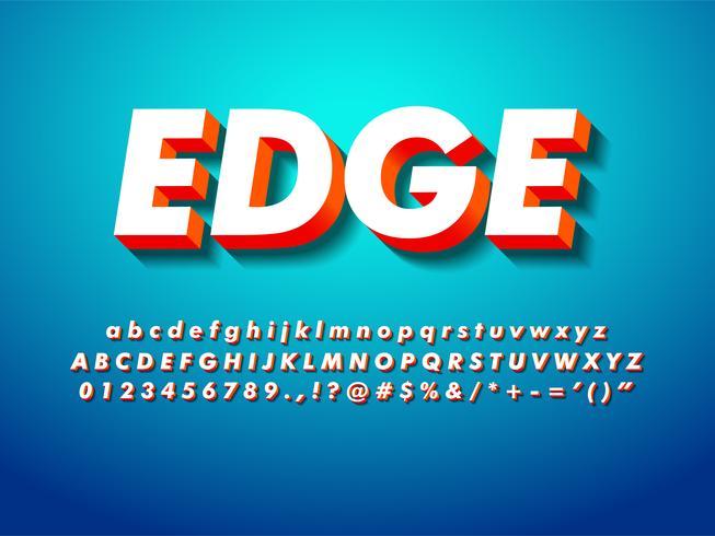 Eenvoudig 3d lettertype met schaduw vector