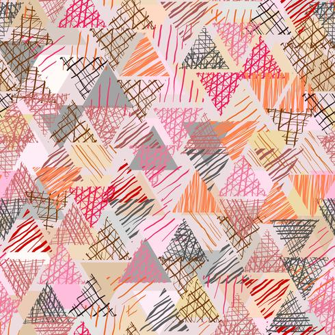 Kleurenkrabbel in driehoeksvorm met naadloze achtergrond. vector