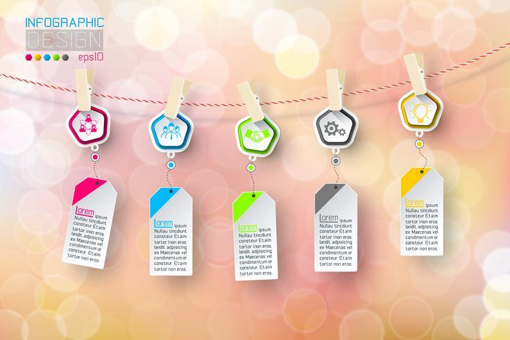 Bedrijfs infographic 5 stappen die clotheslined met bellenachtergrond hangen. vector